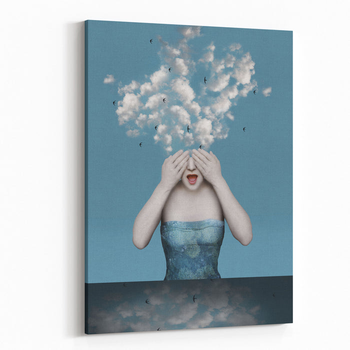 Beautiful Surreal Image With A Girl Who Covers Her Eyes With The Clouds Coming Out Of His Head Canvas Wall Art Print