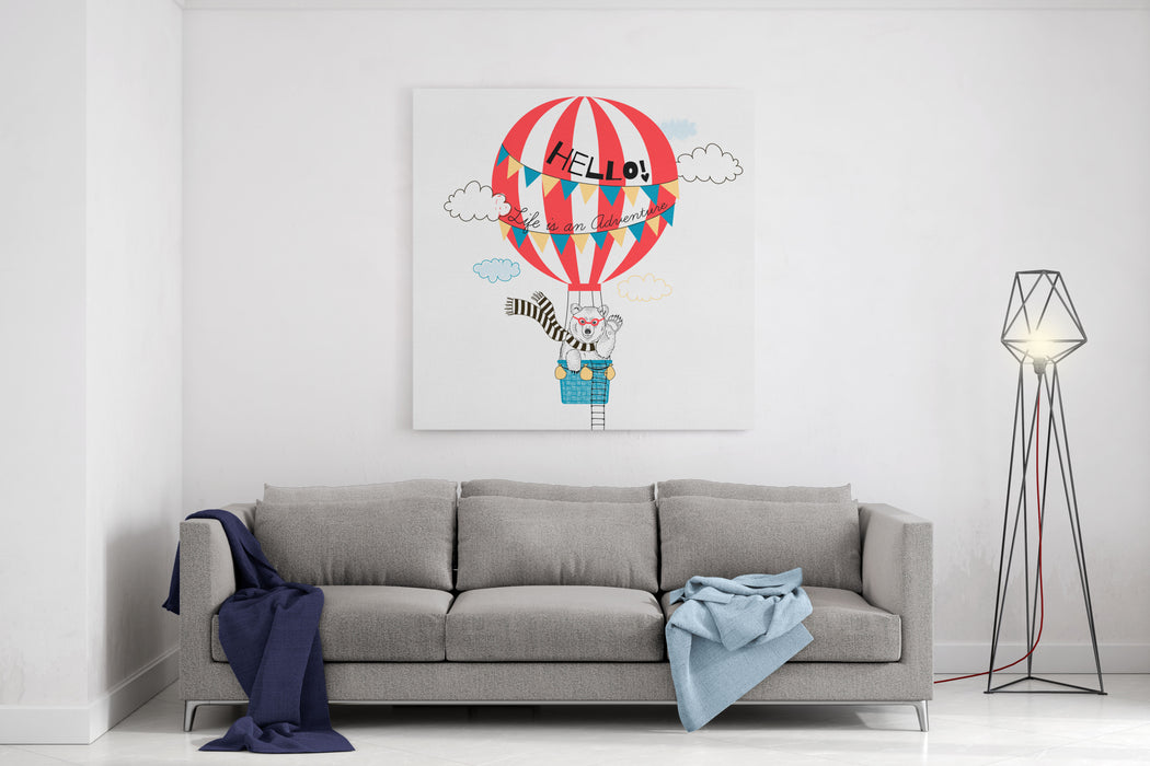 Bear Flying In Air Balloon, Animal Illustration Canvas Wall Art Print
