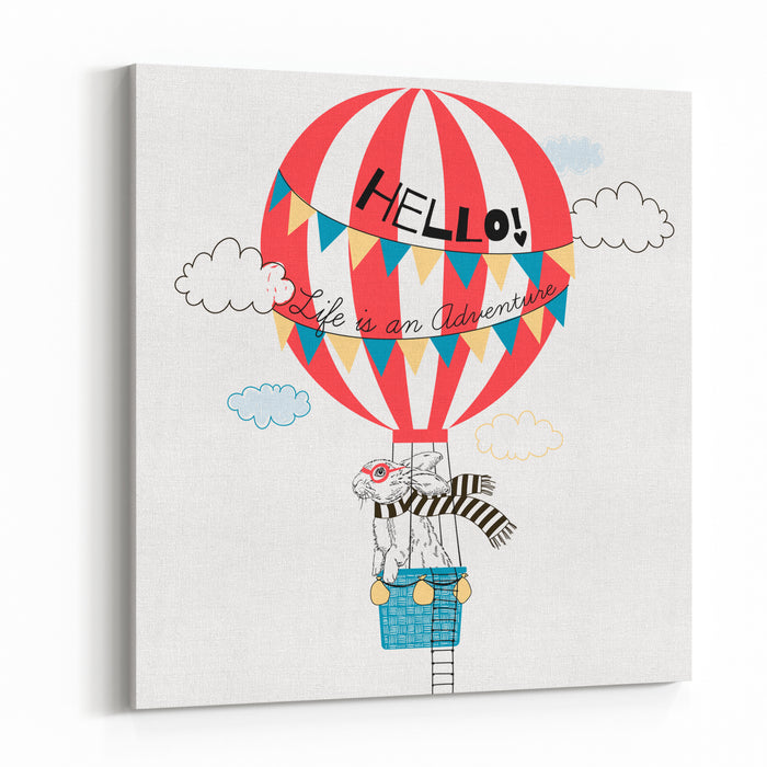 Bunny Flying In Air Balloon, Animal Illustration Canvas Wall Art Print