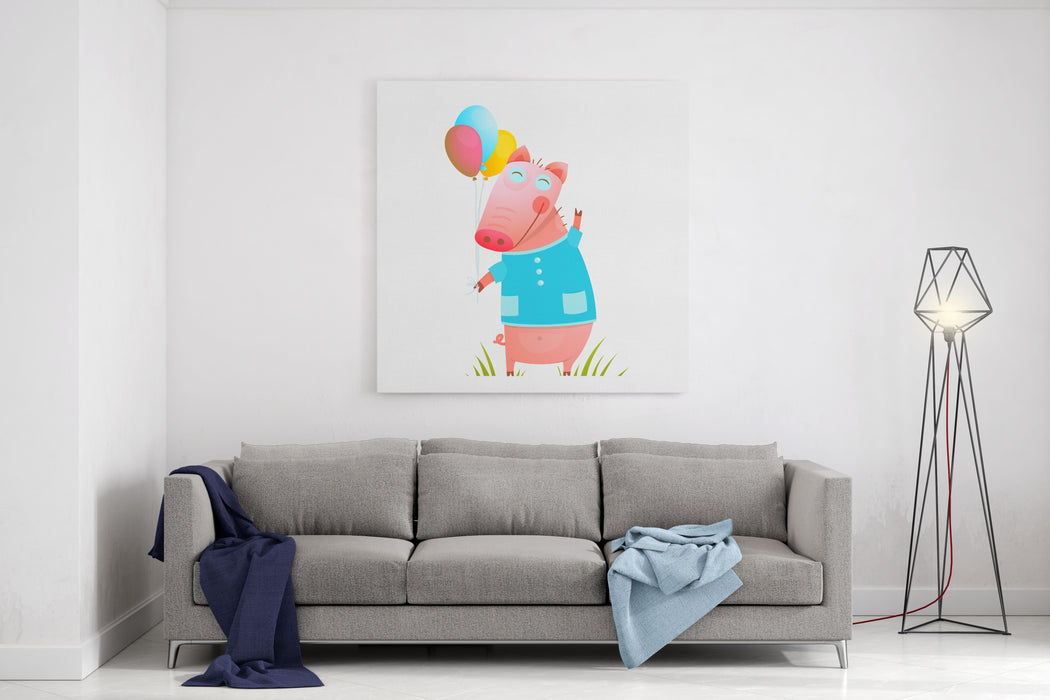Little Adorable Baby Pig With Balloons For Kids Pig Congratulating With Balloons On Grass Humorous Character Kids Cartoon Design Vector Illustration Canvas Wall Art Print