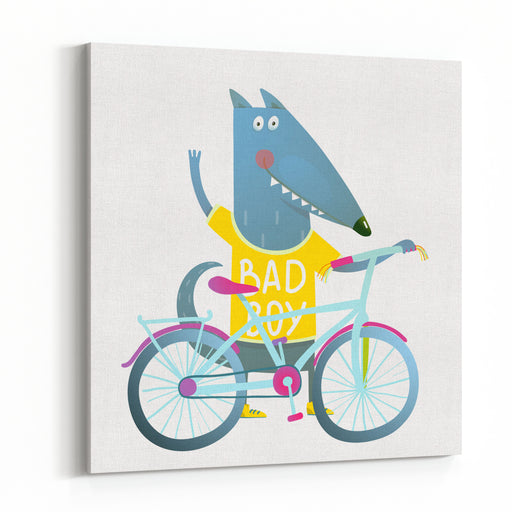 Baby Boy Wolf Or Dog Character Greeting With Bicycle Cute Sport Cartoon For Kids Wolf Dog Cub Cute Colorful Sporty Adorable Animal Illustration Wearing A Tee Shirt Vector EPS Canvas Wall Art Print