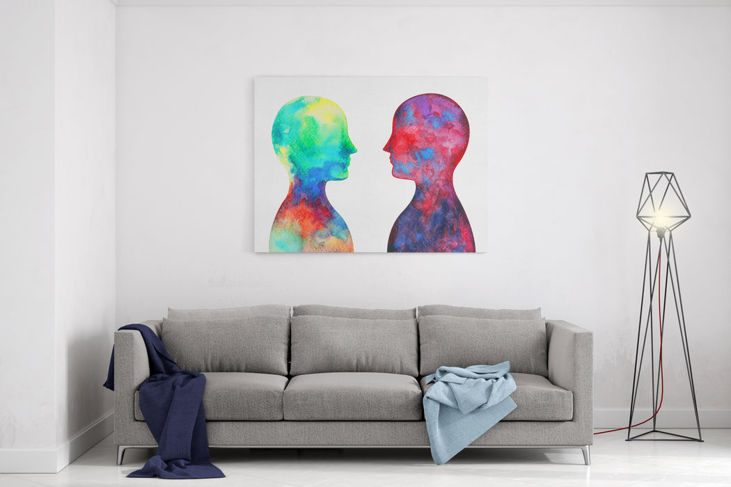 Human Head, Chakra Power, Inspiration Abstract Thought, World, Universe Inside Your Mind, Watercolor Painting Canvas Wall Art Print