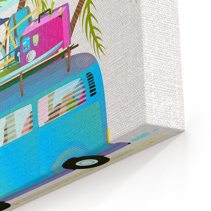 Holiday Summer Trip Bus For Beach Tropical Vacation With Luggage Touristic Summer Holidays Cartoon Bus Illustration Traveling Tropical Vacations Driving Bus With Palm Trees Vector Illustration Canvas Wall Art Print
