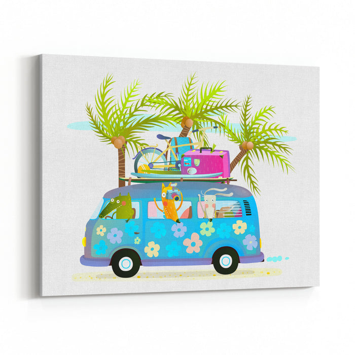 Holiday Summer Bus With Beach Tropical Vacation Tourists Baby Animals And Palms Touristic Holidays Cartoon With Baby Animals Traveling Crocodile, Fox And Rabbit On Vacation Vector Illustration Canvas Wall Art Print