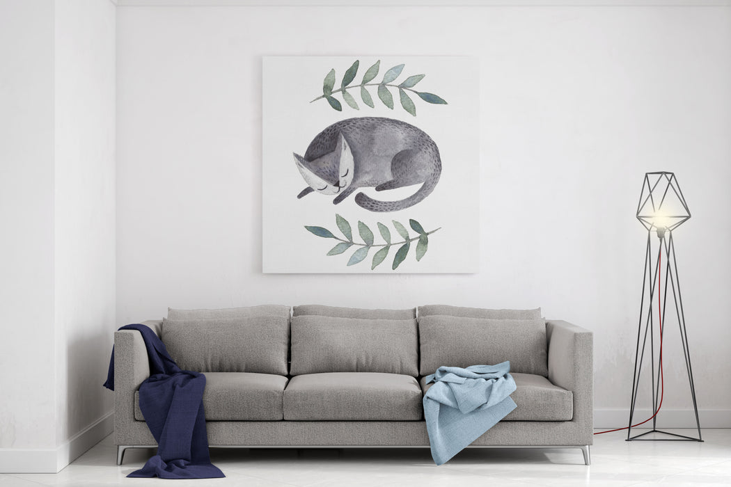 Cute Gray Sleeping Cat Watercolor Kids Illustration With Domestic Animal Sleeping Lovely Pet Hand Drawn Illustration Canvas Wall Art Print