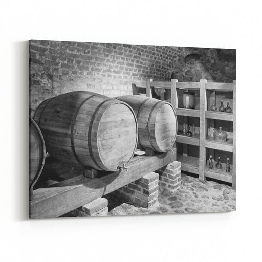 Barrels With A Wine In A Cellar With A Brick Wall Background Black And White Photography Beautiful Vintage Canvas Wall Art Print