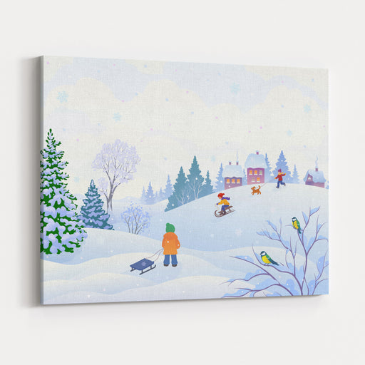 Vector Cartoon Illustration Of A Winter Scene In A Small Snowy Village With Playing Kids Canvas Wall Art Print