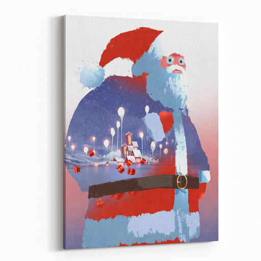 Double Exposure Of Santa Claus And Winter Landscape With Fantasy Village,illustration Painting Canvas Wall Art Print