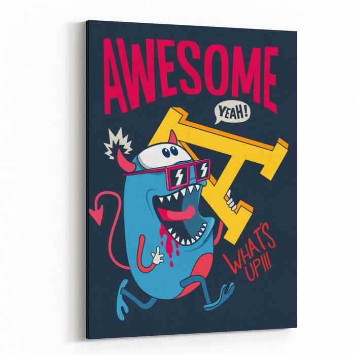 Cool Monster Vector Character Design Canvas Wall Art Print