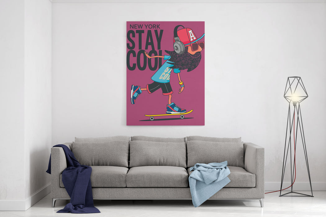 Hipster, Skater Vector Design Canvas Wall Art Print