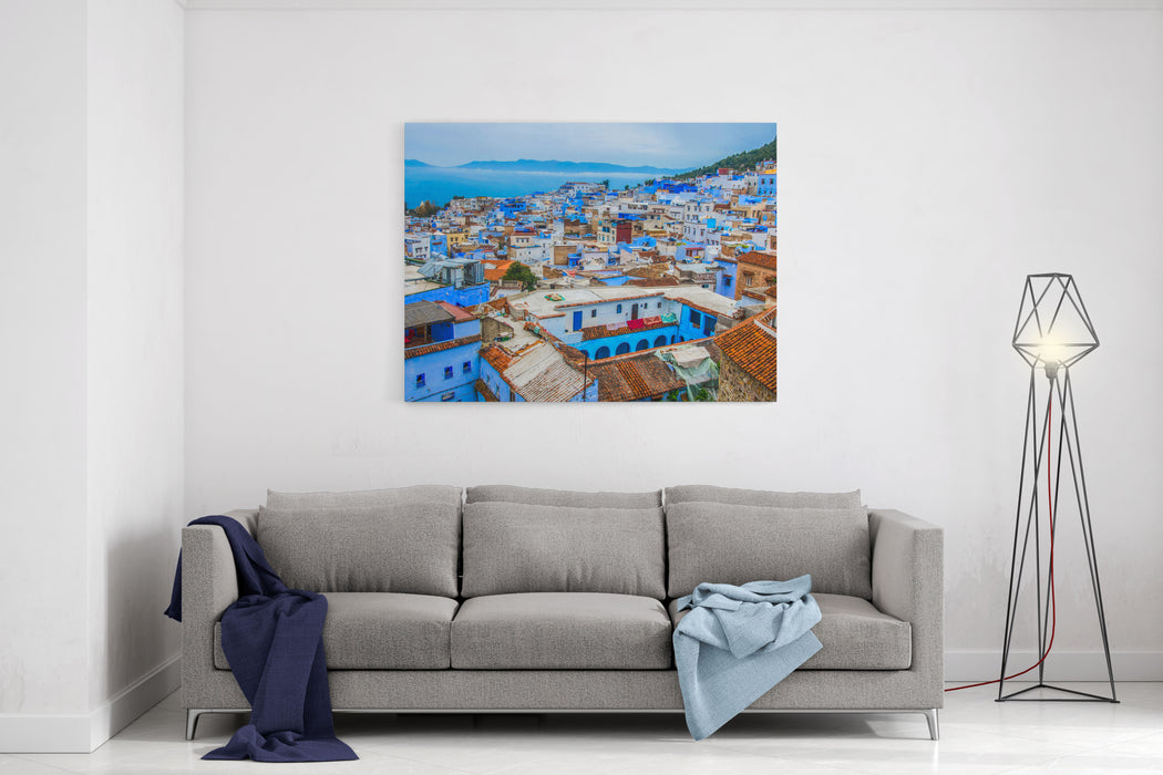 A View Of The Blue City Of Chefchaouen In The Rif Mountains, Morocco Canvas Wall Art Print