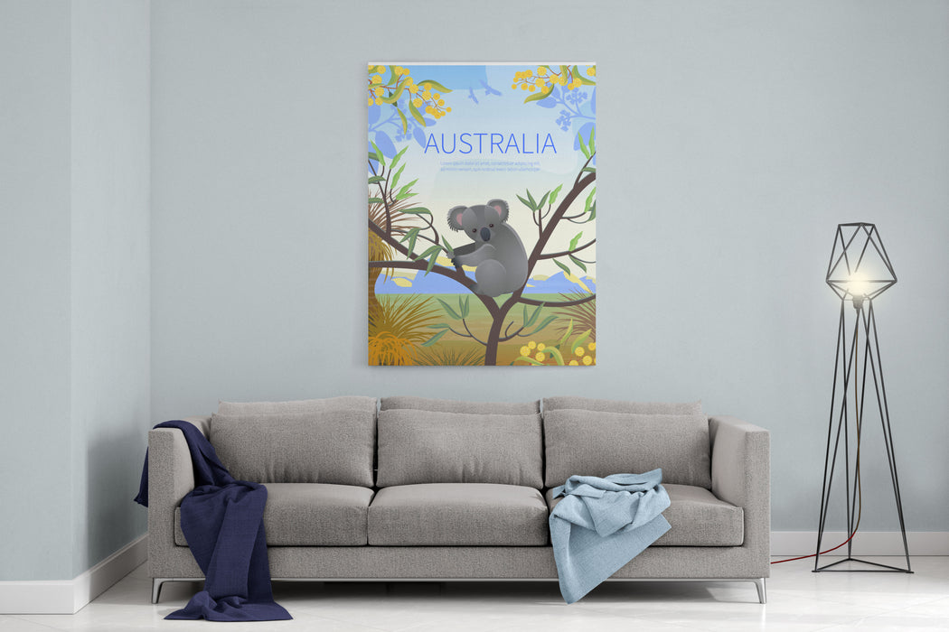 Australian Landscape  Poster  Every  Element Is Located On A Separate Layer Images Is Cropped With Clipping Mask Easy To Edit Canvas Wall Art Print
