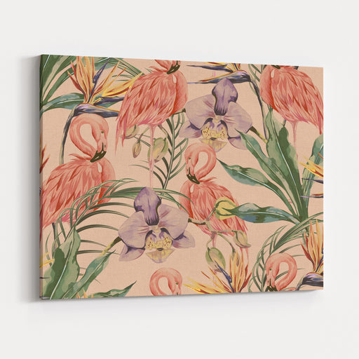 Tropical Flowers, Palm Leaves, Jungle Plants, Orchid, Bird Of Paradise Flower, Pink Flamingos, Seamless Vector Floral Pattern Background, Exotic Botanical Wallpaper, Vintage Boho Style Canvas Wall Art Print