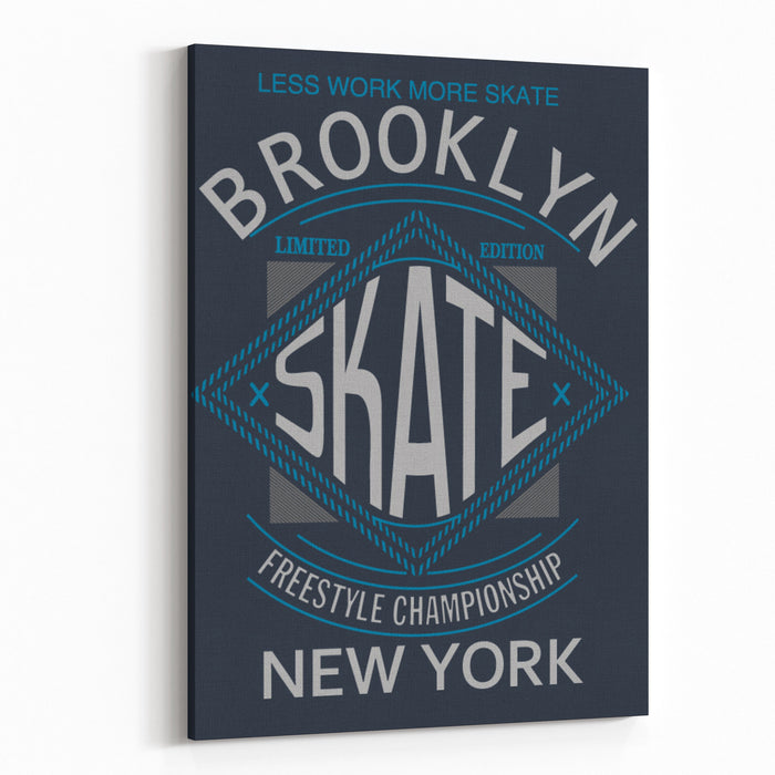 Skate Board Typography, Tshirt Graphics, Vectors Canvas Wall Art Print