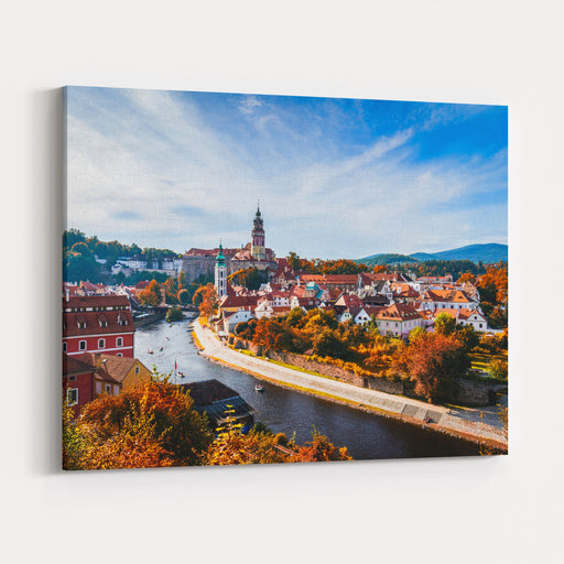 Autumn View On The Cesky Krumlov And Vltava River, Czech Republic Sunny Autumn Day UNESCO World Heritage Site Canvas Wall Art Print
