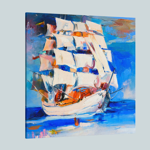 Original Oil Painting On Canvassail Boatmodern Impressionism Canvas Wall Art Print