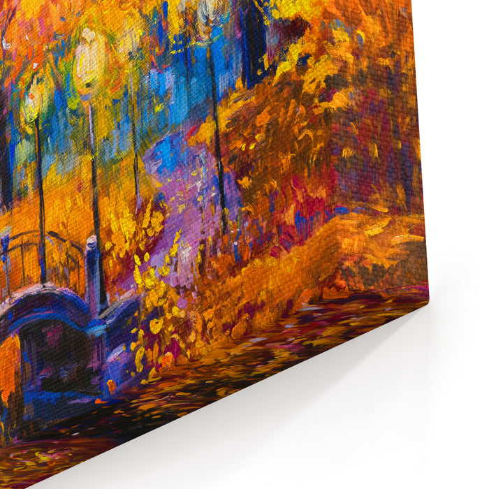 Original Oil Painting On Canvas  Colorful Autumn Painting Modern Impressionism Canvas Wall Art Print
