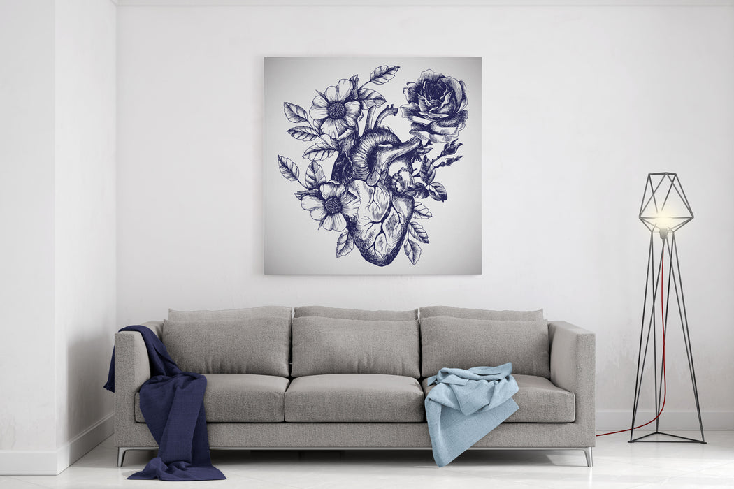 Blooming Anatomical Human Heart Vector Hand Drawn Illustration In Vintage Style Design For Your Tattoo, Logo Or Other Canvas Wall Art Print