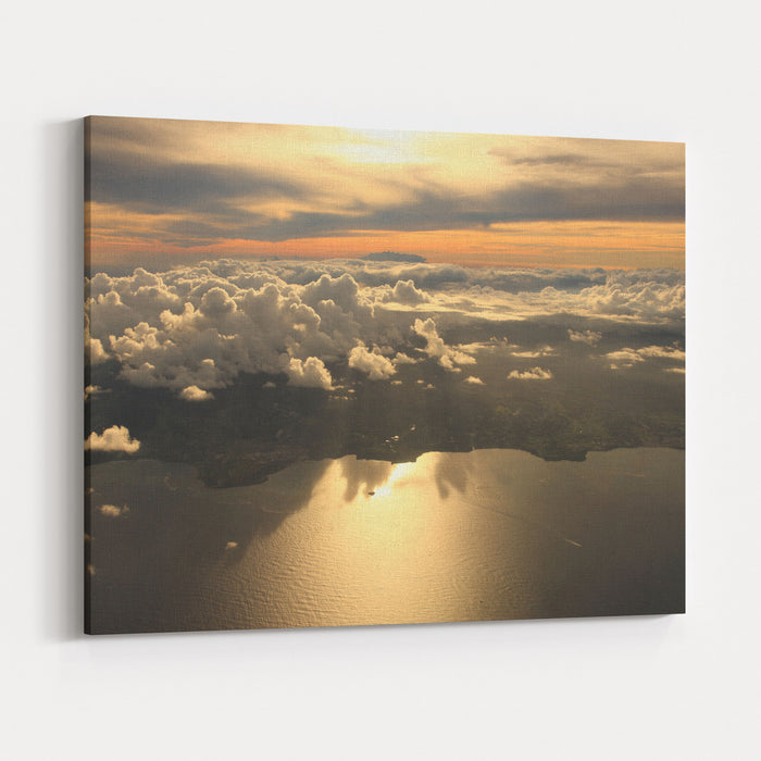 Aerial View Sunset Over Antigua In The Caribbean Canvas Wall Art Print