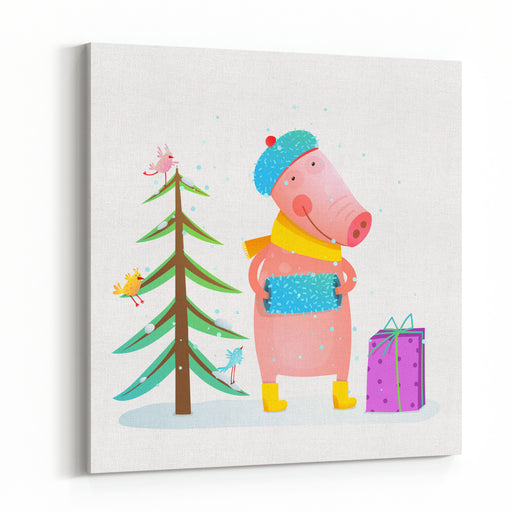 Childish Cheerful Little Pig In Winter Warm Clothes With Fur Tree And Birds Colorful Cartoon For Kids Winter Holidays Christmas Or New Year Canvas Wall Art Print
