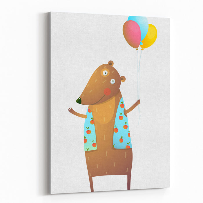 Kids Teddy Bear With Balloons Colorful Cartoon Happy Fun Watercolor Style Animal Congratulation For Children Cartoon Illustration Vector Drawing Canvas Wall Art Print