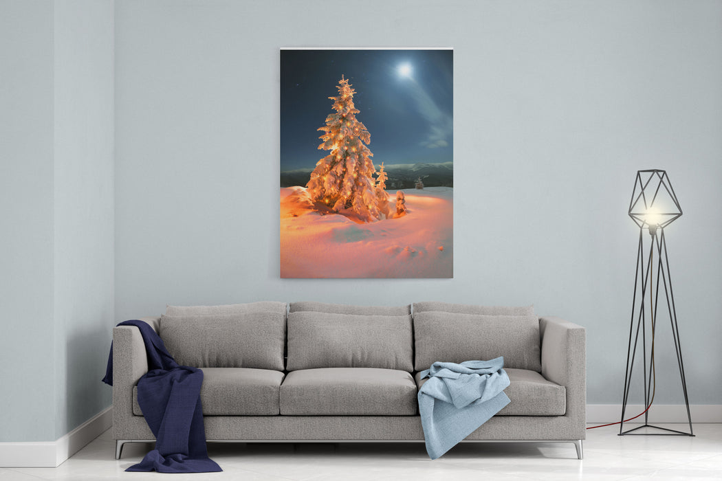 Frosty Winter Night Of Christening  Magic Light Fairy Lights On A Snowy Background In Alpine Spruces Forest After A Snowstorm In The Rugged Mountains Of Europe During The Moon Fairy Canvas Wall Art Print