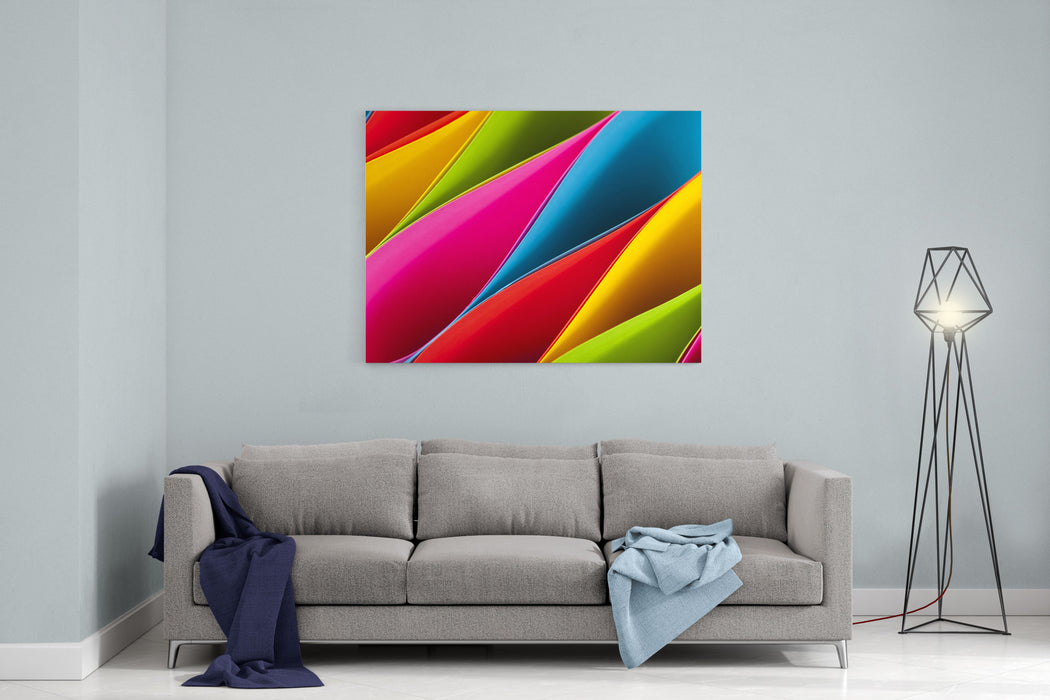 Colorful Card Stock In Unique Elliptical Shapes With Shadow Effect And Selective Focus On A Black Background Canvas Wall Art Print