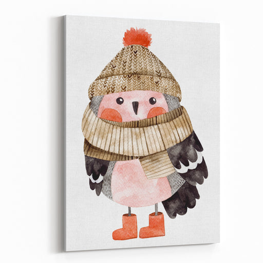 Little Cute Bullfinch With Winter Hat And Scarf Watercolor Hand Drawn Kids Illustration Christmas Winter Theme With Gifts And Candies Canvas Wall Art Print