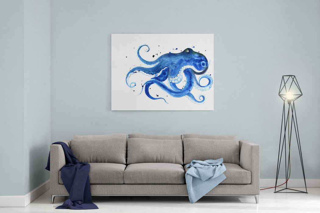 Blue Octopus Silhouette Watercolor Sketch Wildlife Art Illustration Watercolor Graphic For Fabric, Postcard, Greeting Card, Book, Poster, Teeshirt Canvas Wall Art Print