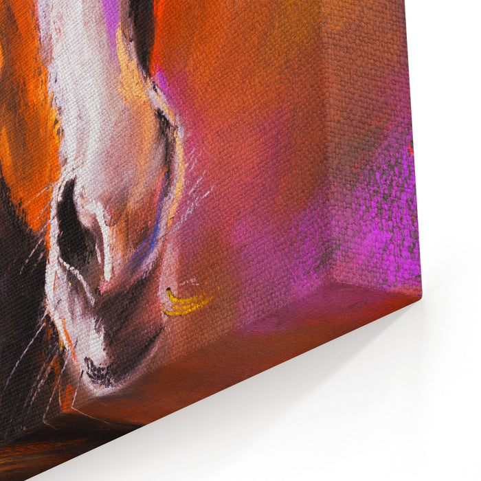 Pastel Painting On A Cardboard Horse Face Modern Art Canvas Wall Art Print