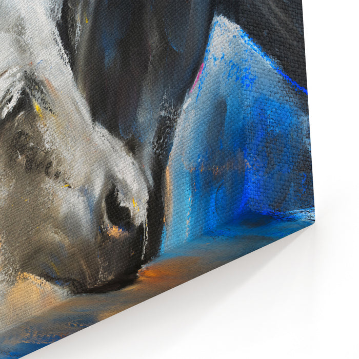 Pastel Portrait Of A Couple Horses On A Cardboard Modern Art Canvas Wall Art Print