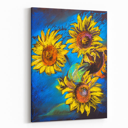 Pastel Painting On A Cardboard Sunflowers Painting Modern Impressionism Canvas Wall Art Print