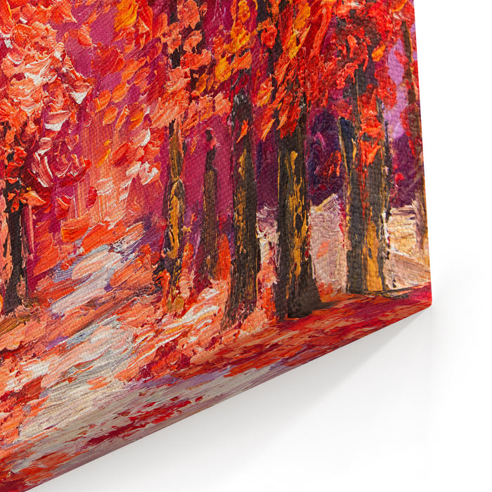 Oil Painting, Colorful Autumn Trees, Impressionism Art Canvas Wall Art Print