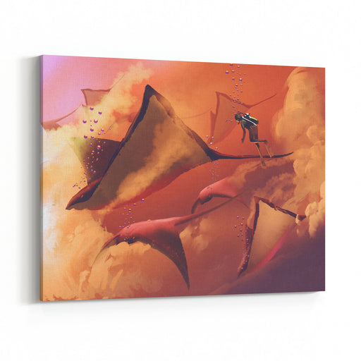 Surreal World Concept Showing Diver And Manta Rays Flying In The Cloudy Sky,illustration Painting Canvas Wall Art Print