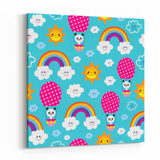 Cute Baby Panda Bear In Hot Air Balloon Rainbows Clouds Sky Kids Seamless Pattern Canvas Wall Art Print