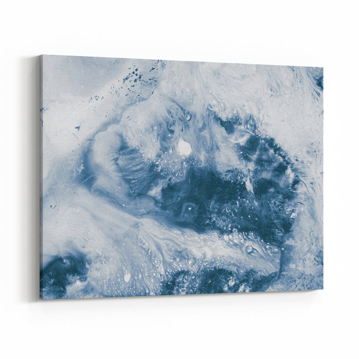 Blue Creative Abstract Hand Painted Background, Marble Texture, Wallpaper, Texture, Acrylic Painting On Canvas Canvas Wall Art Print