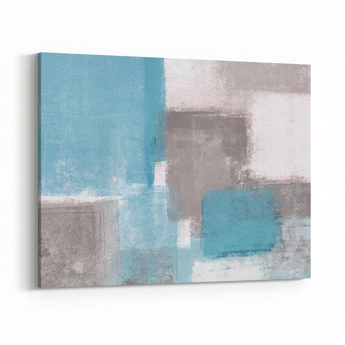Grey And Blue Abstract Art Painting Canvas Wall Art Print