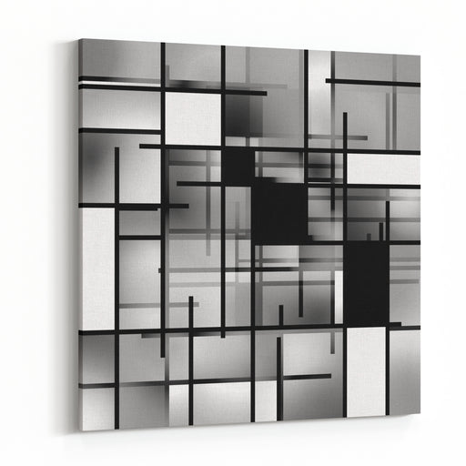 Black And White Rectangular Modern Art Background Composition Canvas Wall Art Print