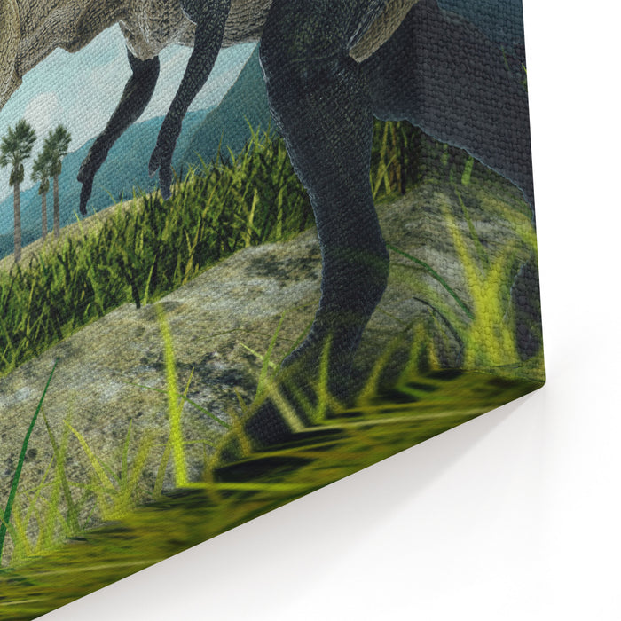 Dinosaur Scene Of The Two Dinosaurs Fighting Each Canvas Wall Art Print