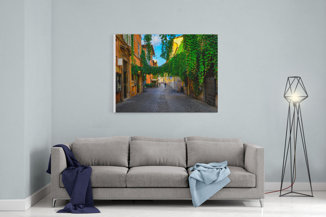 Old Street At In Trastevere, Rome, Italy Trastevere Is Rione Of Rome, On The West Bank Of The Tiber In Rome, Lazio, Italy  Architecture And Landmark Of Rome Cozy Street Of Rome Canvas Wall Art Print