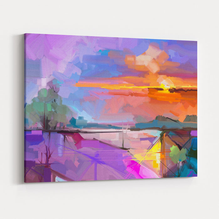Abstract Oil Painting Landscape Background Artwork Modern Oil PaintingOutdoor Landscape Semi Abstract Of Tree, Hill With Sunlight Sunset,Colorful Yellow  Purple Sky Beauty Nature Background Canvas Wall Art Print