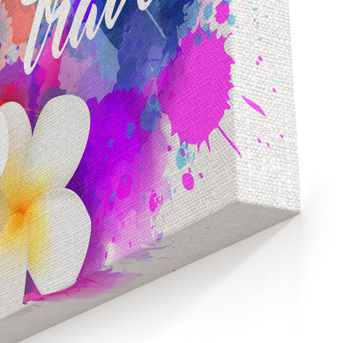 Abstract Travel Background With Plumeria Flowers On Colorful Watercolor Splash Canvas Wall Art Print