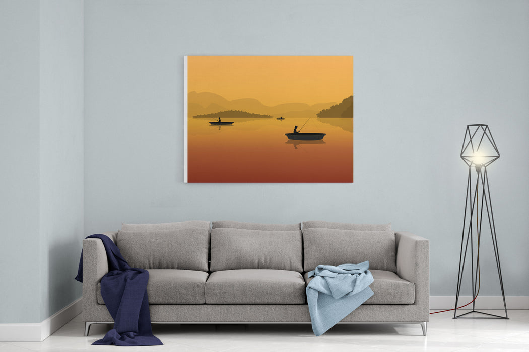 Silhouette Of Fishermen In A Boat With Fishing Rods In The Water Landscape With Mountains, Forest And Sunset Canvas Wall Art Print
