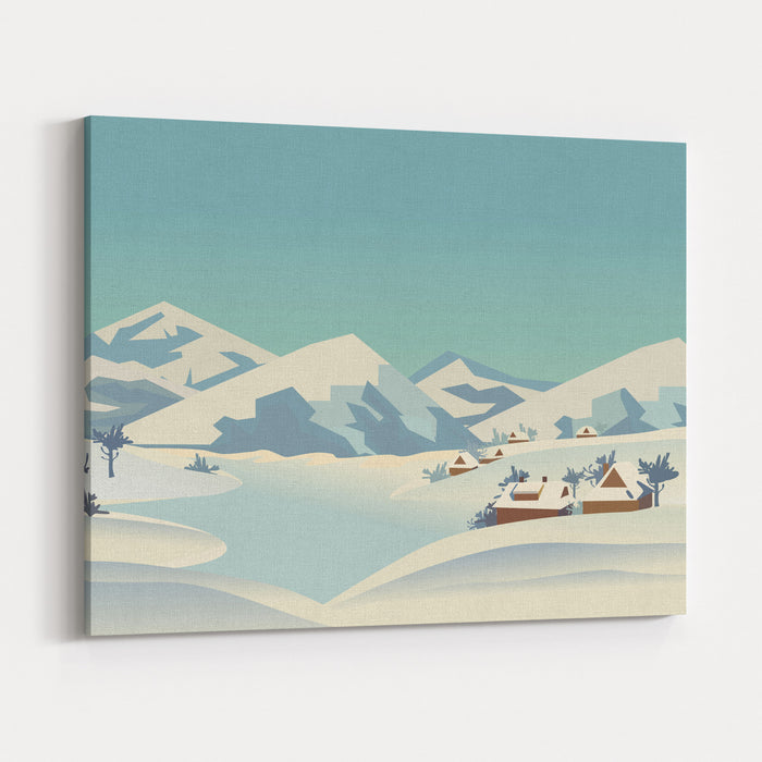 Winter Season Nature Landscape Mountain River In Snowy Glacier Valley Houses On Bank Under Snow Lake View Among Hills Trees Countryside Rural Scene Background Cartoon Outdoors Vector Illustration Canvas Wall Art Print