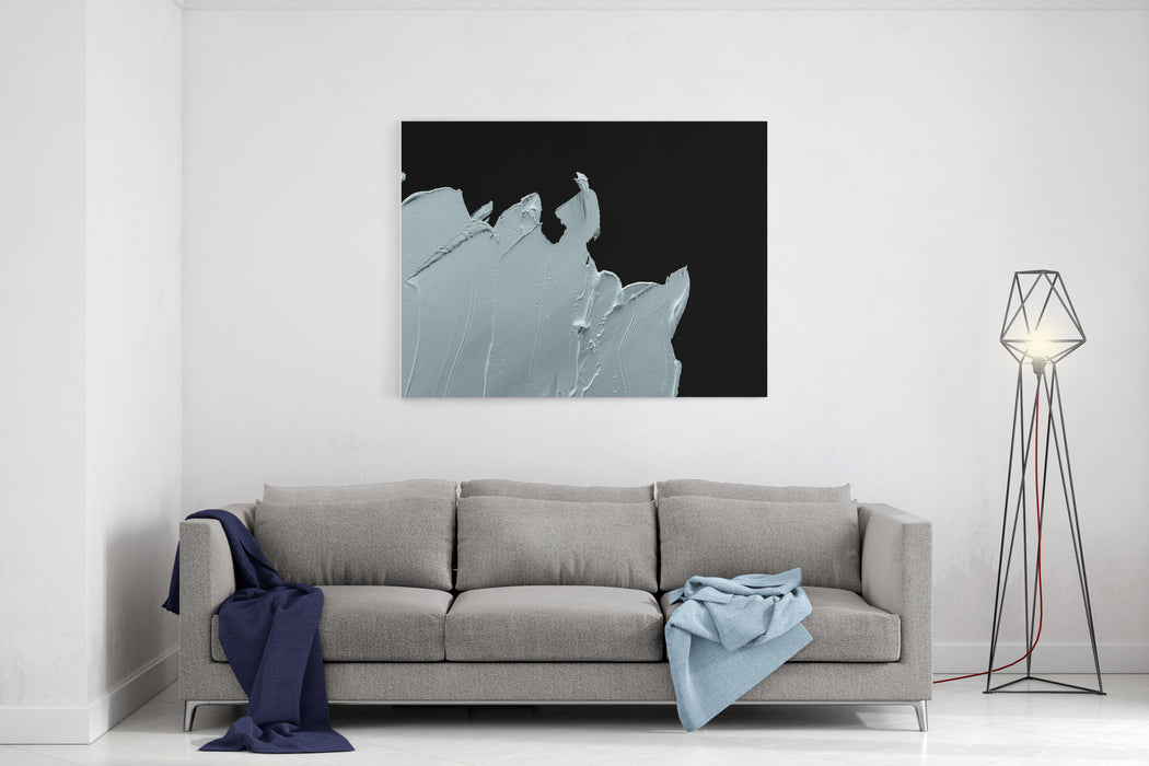 White Abstract Painting  Oil Paint On Black Background Canvas Wall Art Print