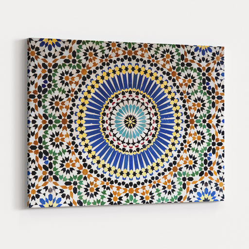 The Colorful Geometric Patterns Of An Islamic Mosaic Decorating The Walls Of The Kasbah Telouet, A Semiruined Palace Fortress In Moroccos Atlas Mountains Canvas Wall Art Print
