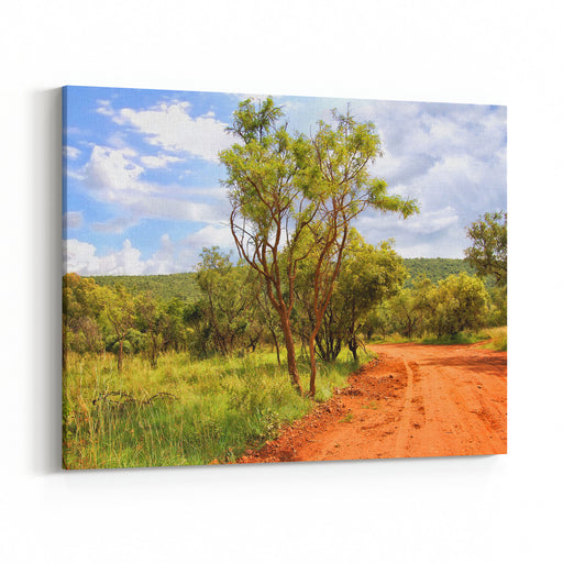 Beautiful African Red Road With A Bush And Blue Sky In The Background Wonderful Landscape Dirt Road In Rural Area African Nature Canvas Wall Art Print