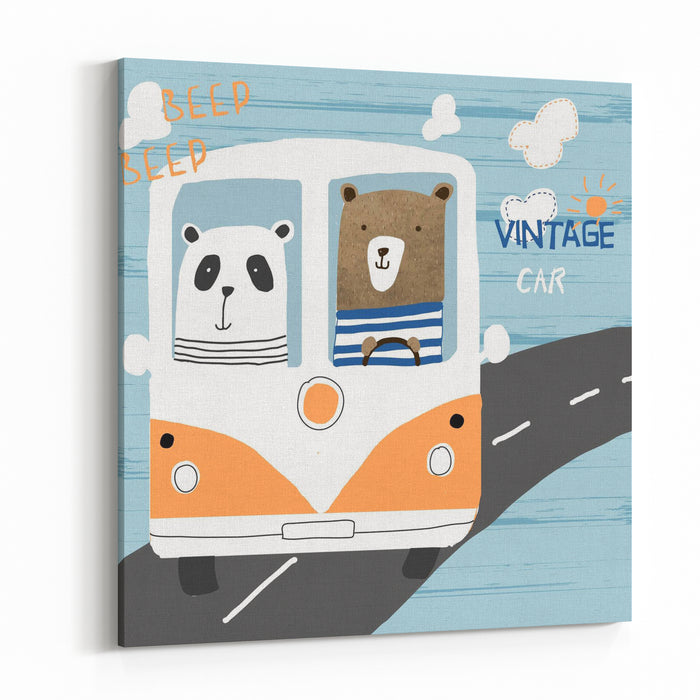 Cute Teddy And Panda In The Car Vector Illustration Canvas Wall Art Print
