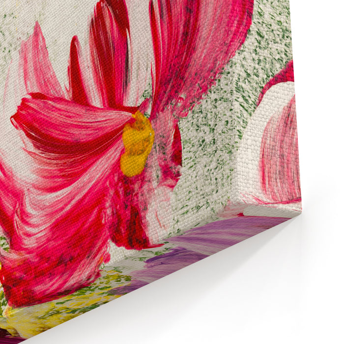 Abstract Flowers, Closeup Fragment Of Acrylic Painting On Canvas Creative Abstract Hand Painted Background, Texture, Background, Wallpaper Modern Art Contemporary Art Canvas Wall Art Print