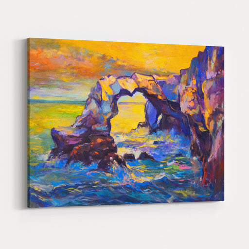 Original Abstract Oil Painting Of Cliffs And Ocean On CanvasModern Impressionism Canvas Wall Art Print